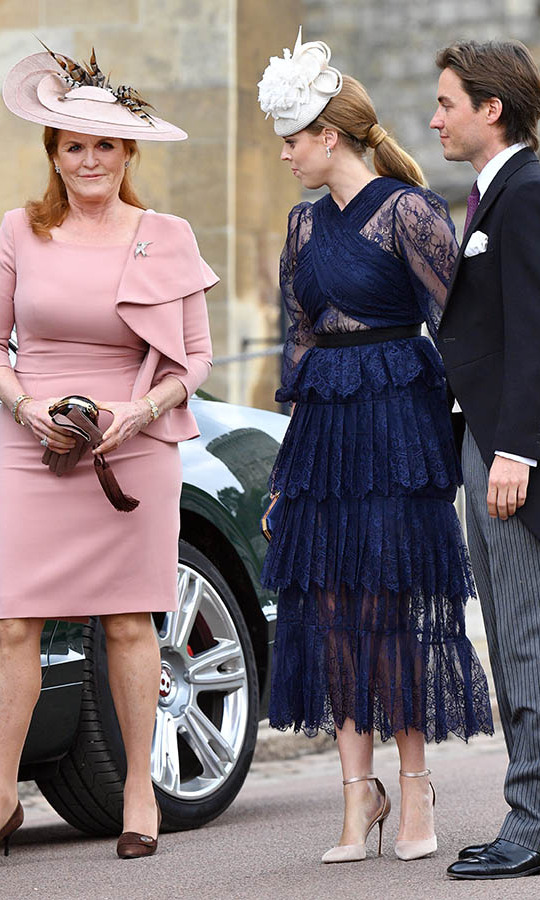 "<h2>May 2019</h2><p>Princess Beatrice and Edoardo were joined by Bea's mom, <a href=/tags/0/sarah-ferguson><strong>Sarah, Duchess of York</strong></a>, at the <a href=""https://ca.hellomagazine.com/royalty/02019051851458/lady-gabriella-windsor-royal-wedding/""><strong>wedding</strong></a> of <a href=""https://ca.hellomagazine.com/tags/0/lady-gabriella-windsor""><strong>Lady Gabriella Windsor</strong></a> and <strong>Thomas Kingston</strong> at St. George's Chapel on May 18 in Windsor. <p>Photo: &copy; Pool/Max Mumby/Getty Images"