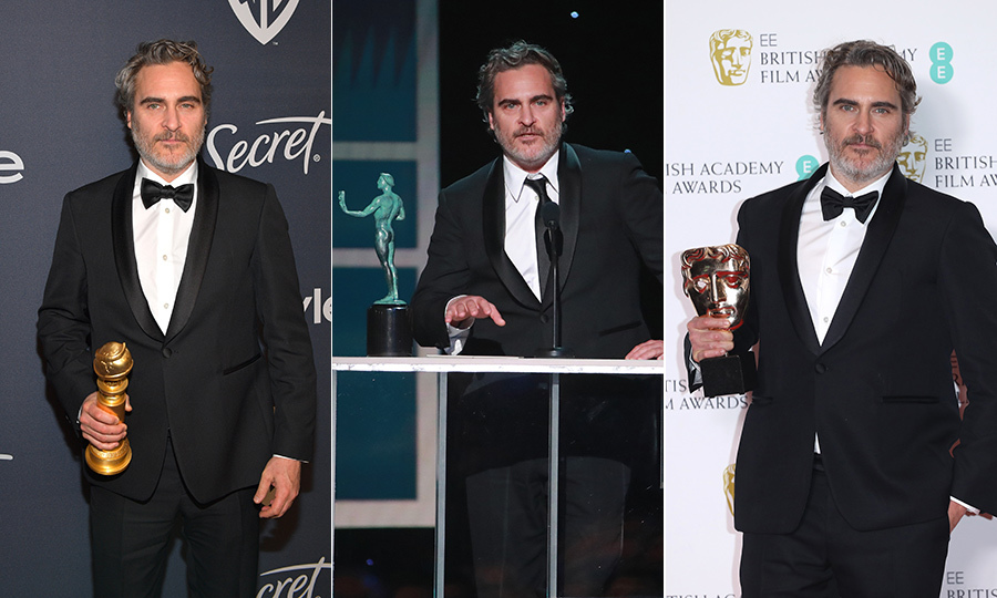 Joaquin has swept the Best Actor categories at all the major awards this season so far, winning a Golden Globe, SAG Award and BAFTA for his performance in Joker so far. Photos: © Matt Winkelmeyer/Getty Images for InStyle, Rich Fury/Getty Images and Lia Toby/Getty Images