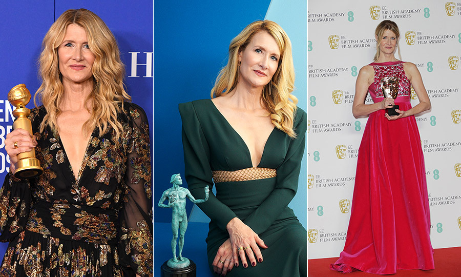 Laura Dern has also swept the Best Supporting Actress categories for her Marriage Story performance this year, winning at the Golden Globe Awards, SAG Awards and BAFTAs so far. Photos: © Steve Granitz/WireImage, Terence Patrick/Getty Images for Turner and David M. Benett/Dave Benett/Getty Images