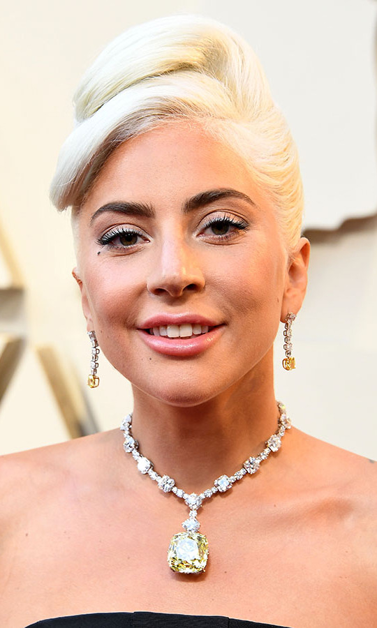 All eyes were on <a href=/tags/0/lady-gaga><strong>Lady Gaga</strong></a> as she stepped out to the 91st Annual Academy Awards in 2019 thanks to her 128-karat yellow diamond necklace and coordinating earrings. The <a href=/tags/0/tiffany-co><strong>Tiffany & Co.</strong></a> jewels are valued at more than $30 million! <p>Photo: &copy; Steve Granitz/WireImage