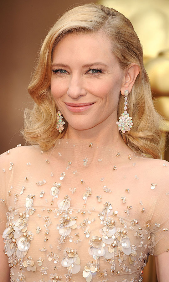 Everything about <a href=/tags/0/cate-blanchett><strong>Cate Blanchett</strong></a>'s look at the 86th Annual Academy Awards in 2014 dazzled from her beaded dress to her Old Hollywood waves. But it was her <a href=/tags/0/chopard><strong>Chopard</strong></a> drop earrings featuring opals set in white gold with diamonds that sparkled the most. <p>Photo: &copy; Steve Granitz/WireImage