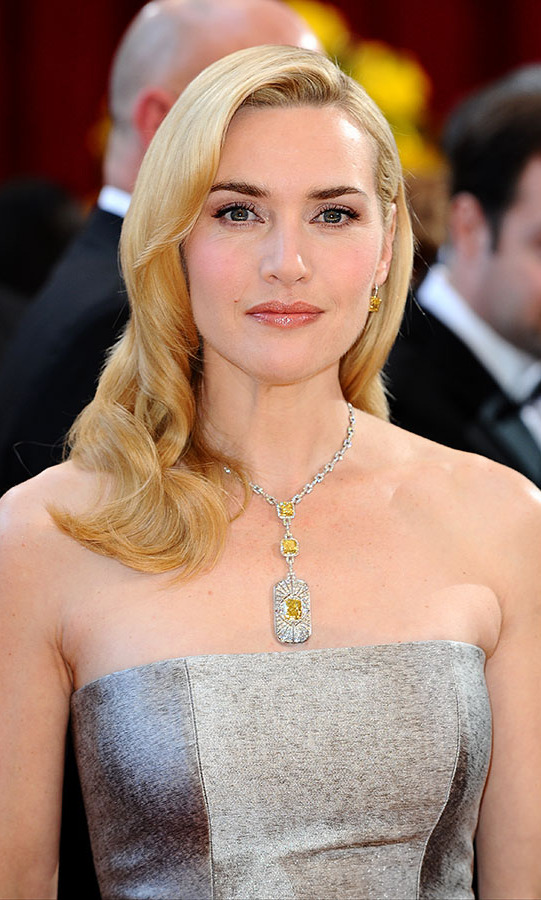 At the 2010 Academy Awards, <a href=/tags/0/kate-winslet><strong>Kate Winslet</strong></a> stole the show in an incredible pendant necklace by <a href=/tags/0/tiffany-co><strong>Tiffany & Co.</strong></a> The Art Deco piece, which was designed specifically for her, featured yellow diamonds and is valued at $2.5 million.<p>Photo: &copy; Ian West/PA Images via Getty Images