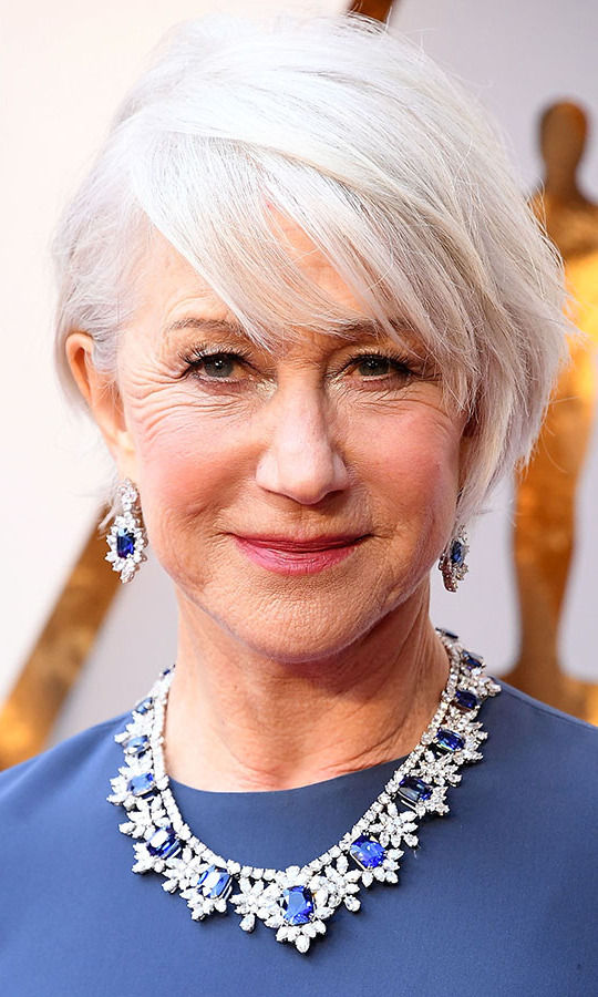 Wow! <a href=/tags/0/helen-mirren><strong>Helen Mirren</strong></a> complemented her blue gown with some megawatt bling courtesy of <a href=/tags/0/harry-winston><strong>Harry Winston</a></strong> at the 90th Annual Academy Awards in 2018. The sapphire and diamond set had a regal floral design. The necklace alone was worth $3.8 million. <p>Photo: &copy; Steve Granitz/WireImage