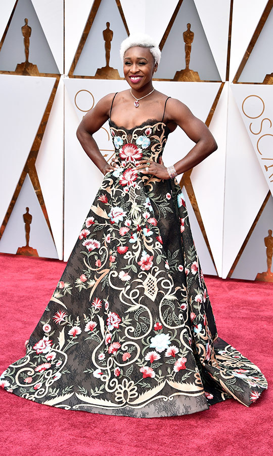 <strong><a href=/tags/0/cynthia-erivo>Cynthia Erivo</a></strong> wore this incredible floral gown to her first Oscars in 2017.