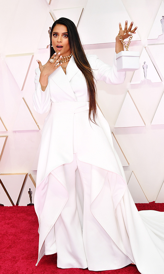 Canadian YouTuber <strong>Lilly Singh</strong> showcased her accessories and her dramatic white outfit. <p>Photo: &copy; Amy Sussman/Getty Images