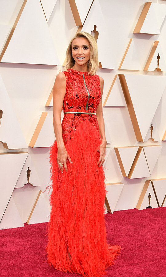 <strong>Giuliana Rancic</strong> kicked things off in a statement-making red feathered gown. <p>Photo: &copy; Amy Sussman/Getty Images