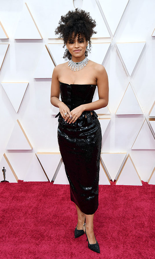 <em>Joker</em> star <a href=/tags/0/zazie-beetz><strong>Zazie Beetz</strong></a> stunned in a short <strong>Thom Browne</strong> LBD. She paired it with Bulgari jewels. <p>Photo: &copy; Kevin Mazur/Getty Images