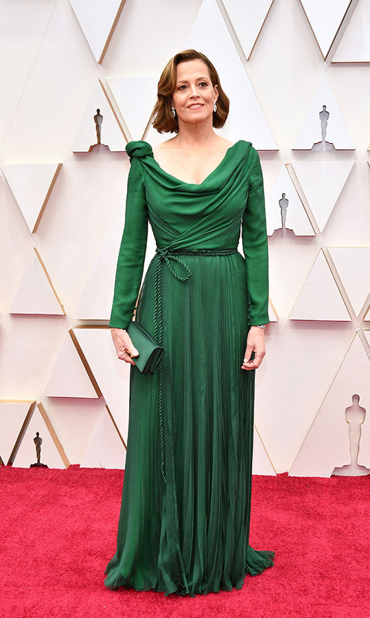 <a href=/tags/0/Sigourney-Weaver><strong>Sigourney Weaver</strong></a> looked regal in a custom flowing green Dior Couture gown fastened with a coordinating rope belt. <p>Photo: &copy; Amy Sussman/Getty Images