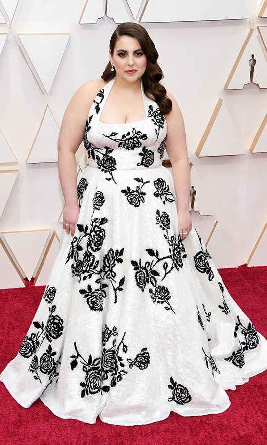 <em>Booksmart</em> actress <strong>Beanie Feldstein</strong> channelled Old Hollywood in a custom <a href=/tags/0/miu-miu><strong>Miu Miu</strong></a> gown decorated with black roses. <p>Photo: &copy; Kevin Mazur/Getty Images