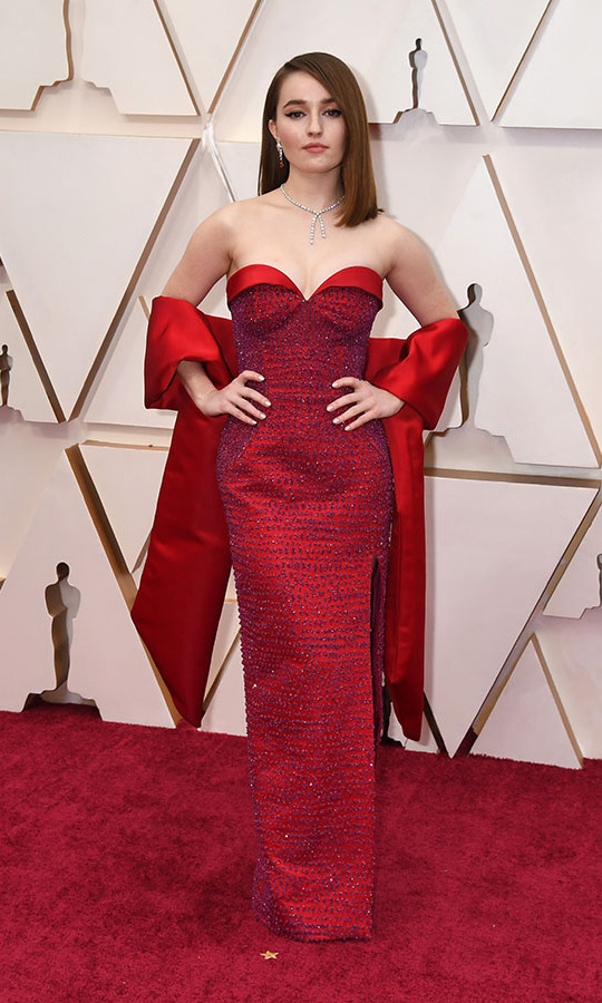 <em>Booksmart</em> actress <strong>Kaitlyn Dever</strong> oozed glamour in a custom and sustainable <a href=/tags/0/louis-vuitton><strong>Louis Vuitton</strong></a> gown and stole. She paired it with <strong><a href=/tags/0/aldo>Aldo</a></strong> shoes and Harry Winston jewellery. <p>Photo: &copy; Jeff Kravitz/FilmMagic