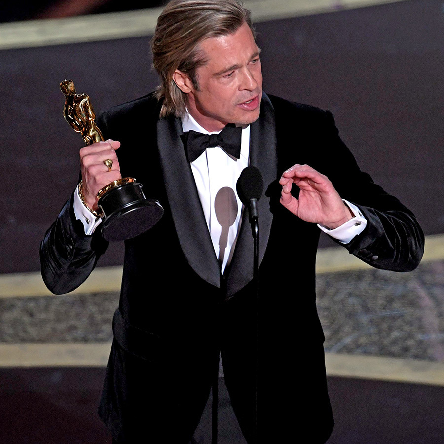 <Strong><a href=/tags/0/brad-pitt>Brad Pitt</a></strong> picked up yet another award for <i>Once Upon a Time... in Hollywood</i>, winning Best Supporting Actor. He won a Golden Globe Award and SAG Award for the performance already. 