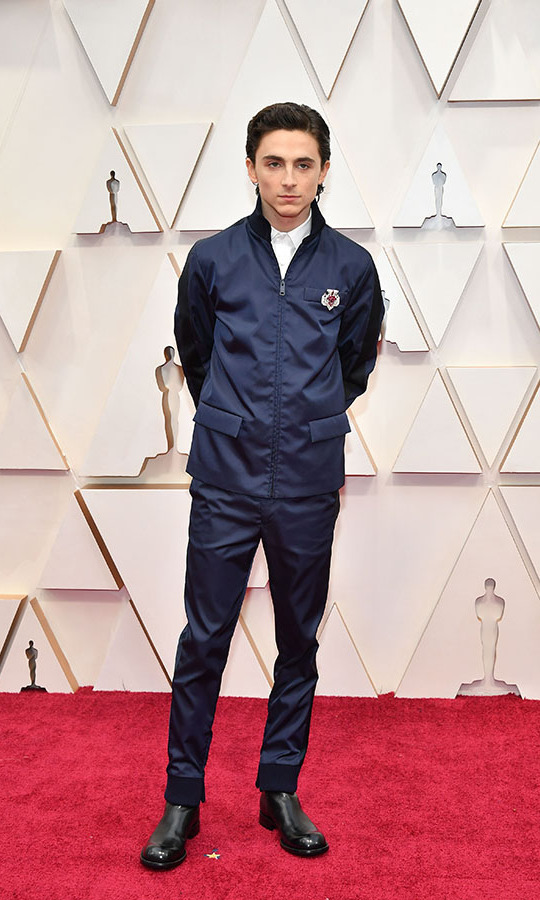 <em>Little Women</em> actor <a href=/tags/0/timothee-chalamet><strong>Timothée Chalamet</strong></a> demonstrated his unique signature style in a <a href=/tags/0/prada><strong>Prada</a></strong> riff on a traditional navy suit. His brooch is a vintage <strong><a href=/tags/0/cartier>Cartier</a></strong> ruby and diamond number from 1955. <p>Photo: &copy; Amy Sussman/Getty Images