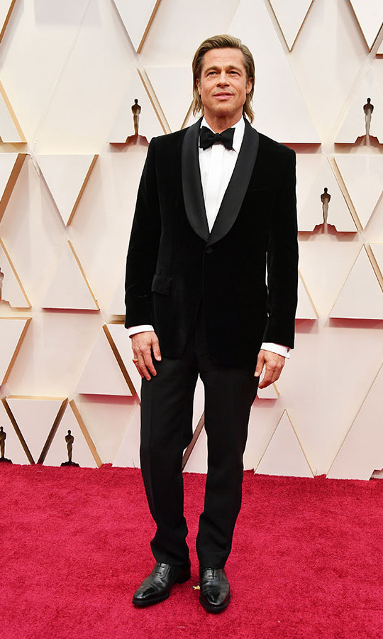 At the 2020 Oscars, Best Supporting Actor nominee <a href=/tags/0/brad-pitt><strong>Brad Pitt</strong></a> made a dapper entrance in a velvet tux. He wore a David Yurman ring. <p>Photo: &copy; Amy Sussman/Getty Images
