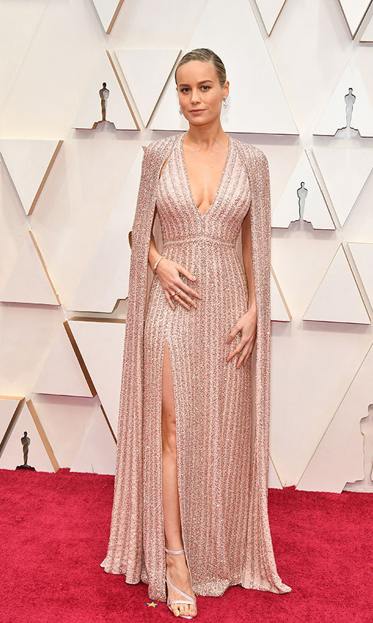 <a href=/tags/0/brie-larson><strong>Brie Larson</strong></a>'s glittering <strong><a href=/tags/0/celine>Celine</a></strong> outfit highlighted the cape trend at the 2020 Oscars. She paired it with Bulgar jewels. <p>Photo: &copy; Amy Sussman/Getty Images