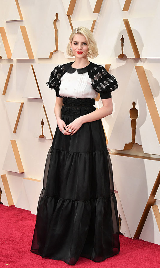 At the 92nd Annual Academy Awards, <a href=/tags/0/lucy-boynton><strong>Lucy Boynton</strong></a>'s <a href=/tags/0/chanel><strong>Chanel</a></strong> dress and hair(!) were enhanced with embellishment. <p>Photo: &copy; Amy Sussman/Getty Images