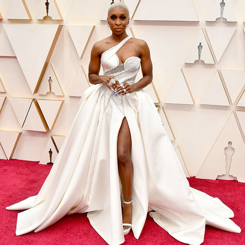 Best actress nominee <a href=/tags/0/cynthia-erivo><strong>Cynthia Erivo</strong></a> stunned in a dramatic bespoke <Strong><a href=/tags/0/atelier-versace>Atelier Versace</a></strong> gown with <strong><a href=/tags/0/piaget>Piaget</a></strong> jewellery and <strong><a href=/tags/0/stuart-weitzman>Stuart Weitzman</a></strong> shoes. <p>Photo: &copy; Amy Sussman/Getty Images