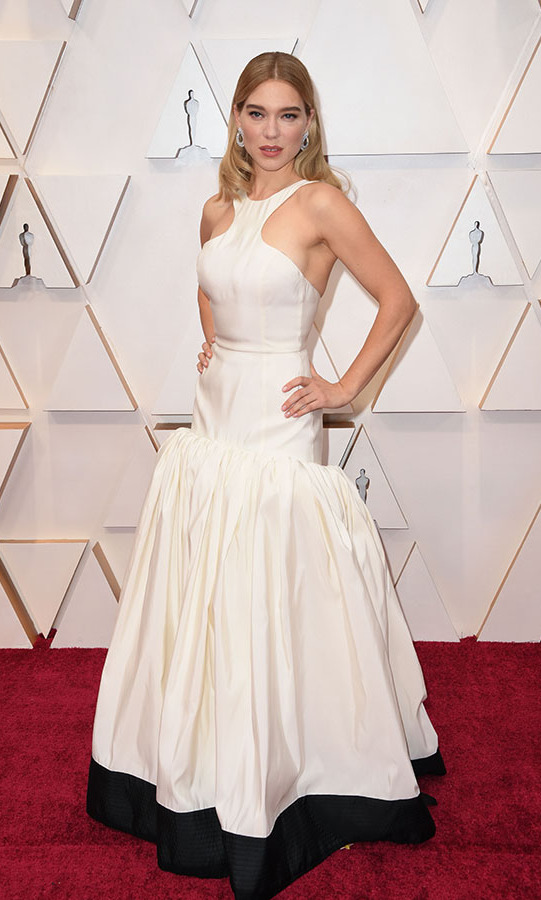 French actress <a href=/tags/0/lea-seydoux><strong>Lea Seydoux</a></strong>'s white halter-neck dress was finished with a full gathered skirt. <p>Photo: &copy; Robyn Bec/AFP via Getty Images