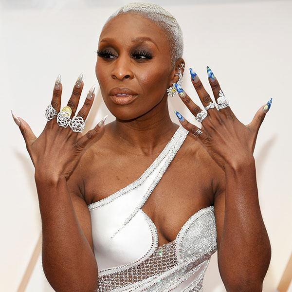 <em>Harriet</em> star <a href=/tags/0/cynthia-erivo><strong>Cynthia Erivo</strong></a> showcased her cluster of sparkling rings, as well as her detailed manicure, on the Oscars red carpet. <p>Photo: &copy; Kevin Mazur/Getty Images