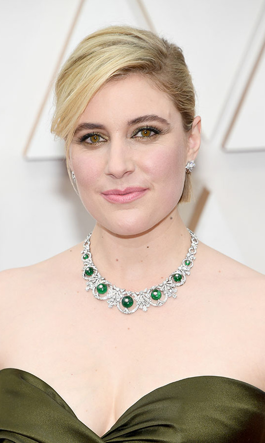 <em>Little Women</em> director <a href=/tags/0/greta-gerwig><strong>Greta Gerwig</strong></a> accented her bespoke green <a href=/tags/0/dior><strong>Dior</strong></a> gown with a glinting <a href=/tags/0/bulgari><strong>Bulgari</strong></a> necklace. <p>Photo: &copy; Kevin Mazur/Getty Images