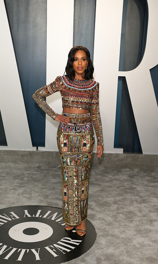 <a href=/tags/0/kerry-washington><strong>Kerry Washington</strong></a> looked queenly in an ornate crop top and skirt. <p>Photo: &copy; JEAN-BAPTISTE LACROIX/AFP via Getty Images