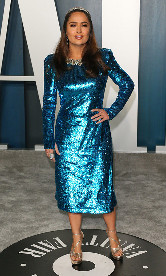 <Strong><a href=/tags/0/salma-hayek>Salma Hayek</a></strong> shimmered in a bright blue number.