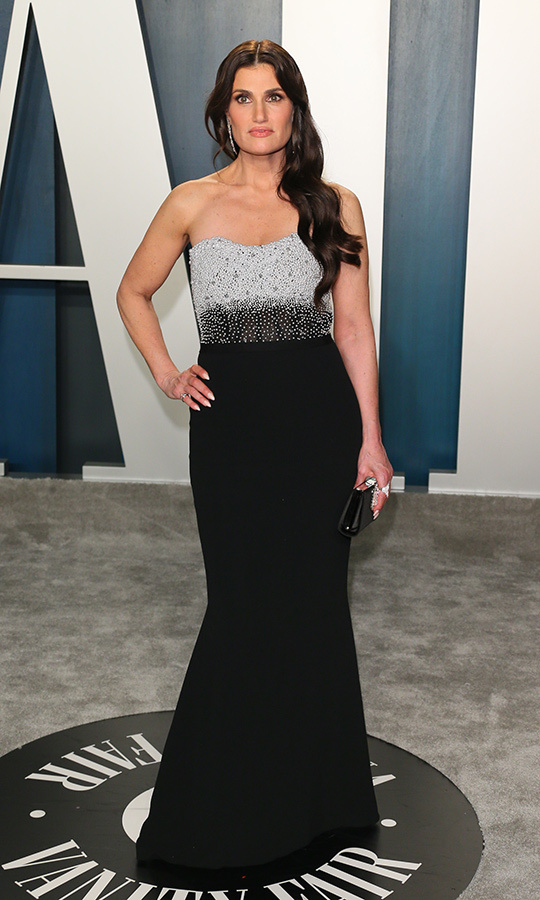 <Strong><A href=/tags/0/idina-menzel>Idina Menzel</a></strong> looked classically beautiful in a black-and-grey sequinned dress.