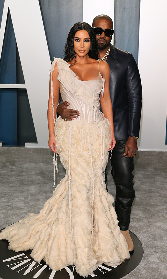 <strong><a href=/tags/0/kim-kardashian>Kim Kardashian</a></strong> and <strong><a href=/tags/0/kanye-west>Kanye West</a></strong> contrasted each other so nicely in beige and black leather.