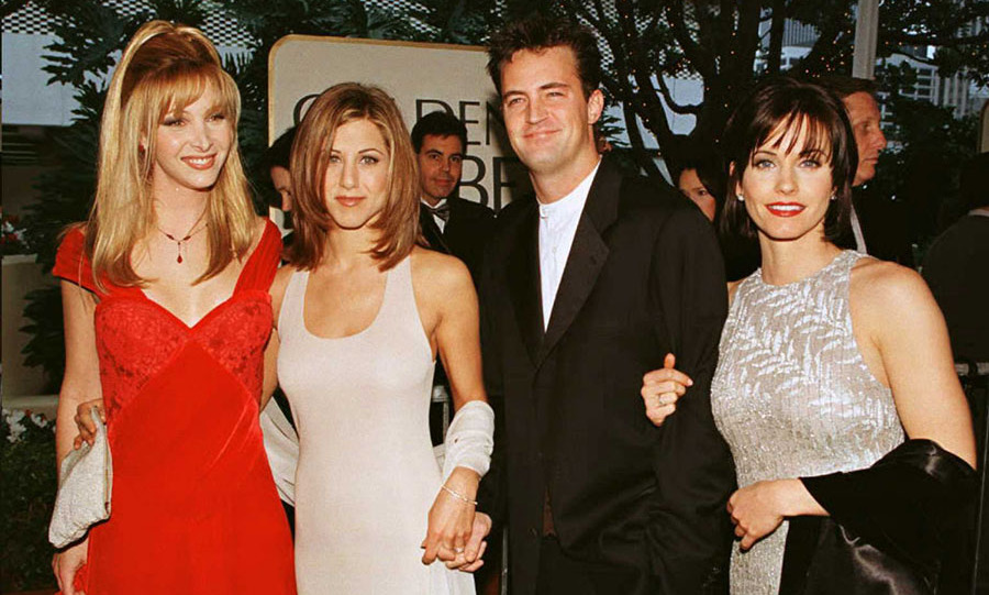 <h2>1996</h2><p>Jennifer joined <em>Friends</em>'s co-stars Lisa Kudrow, <a href=/tags/0/matthew-perry><strong>Matthew Perry</strong></a> and Courteney Cox at the 53rd Annual Golden Globe Awards, where the hit sitcom was nominated for Best Comedy Television Series.<p>Photo: &copy; MIKE NELSON/AFP via Getty Image