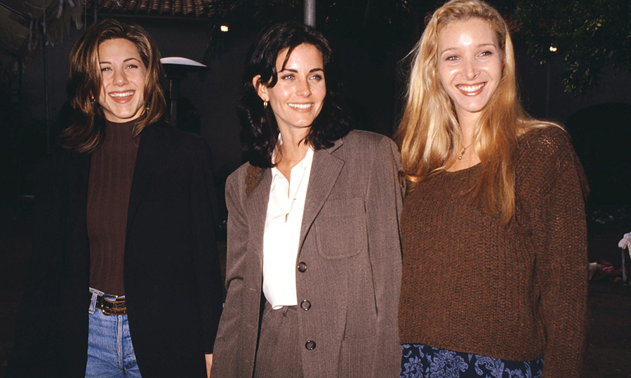 <h2>1995</h2><p>Jennifer, <a href=/tags/0/courteney-cox><strong>Courteney Cox</strong></a> and <a href=/tags/0/lisa-kudrow><strong>Lisa Kudrow</strong></a> were all smiles in 1995.<p>Photo: &copy; Ron Davis/Getty Images