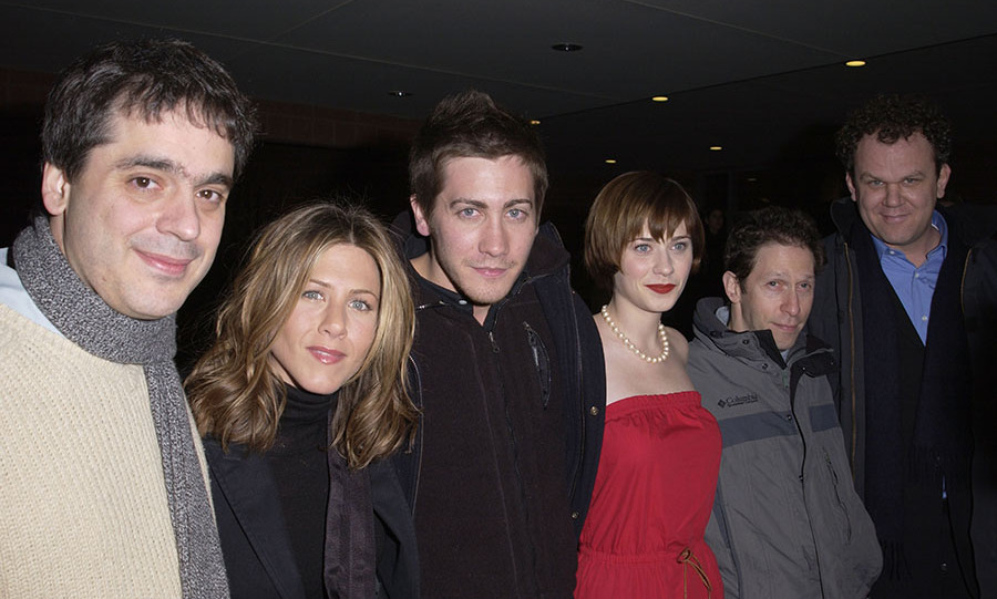 <h2>2002</h2><p>So many stars! Jennifer also linked arms with her <em>The Good Girl</em> co-stars and crew including (L-R) Director <strong>Miguel Arteta</strong>, <a href=/tags/0/jake-gyllenhaal><strong>Jake Gyllenhaal</strong></a>, <a href=/tags/0/zooey-deschanel><strong>Zooey Deschanel</strong></a>, <strong>Mike White</strong>, and <a href=/tags/0/john-c-reilly><strong>John C. Reilly</strong></a>. <p>Photo: &copy; J. Vespa/WireImage