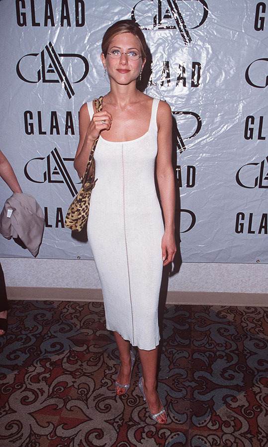 <h2>1998</h2><p>At the 9th Annual GLAAD Media Awards, Jennifer showcased her signature minimalist style – and a pair of glasses!<p>Photo: &copy; Steve Granitz Archive 1/WireImage