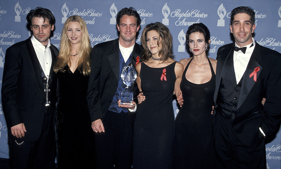 <h2>1995</h2><p>The entire cast of <em>Friends</em> attended the 21st Annual People's Choice Awards, where they won the Favorite New Television Comedy Series award.<p>Photo: &copy; Jim Smeal/Ron Galella Collection via Getty Images