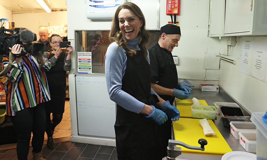 The cafe put the Countess of Strathearn, she's known in Scotland, hard to work! She helped make wraps and did plenty of other food prep while there.