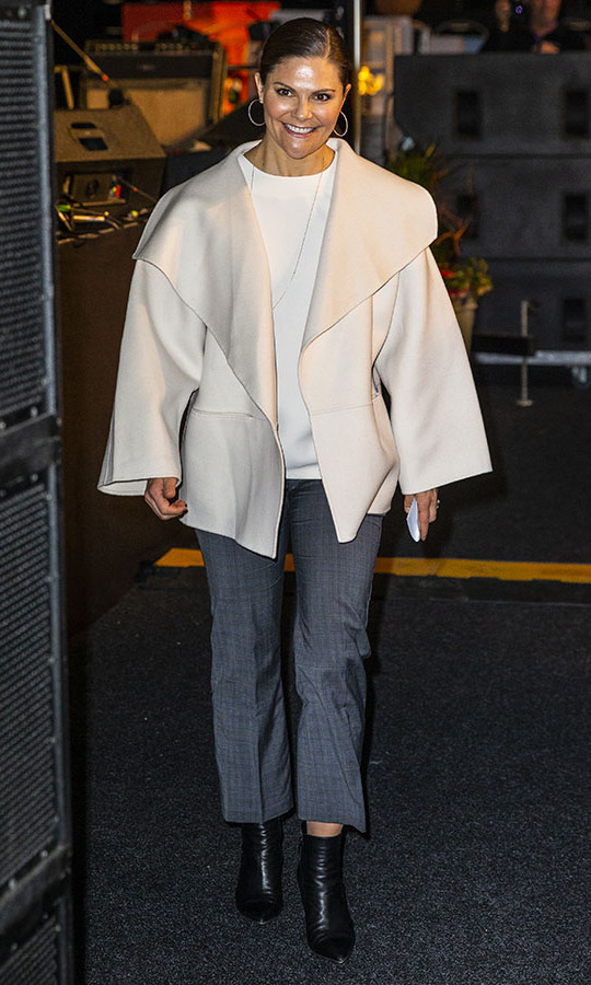 On Feb. 5, <a href=/tags/0/crown-princess-victoria><strong>Crown Princess Victoria</strong></a> showcased her winter whites in a voluminous coat, white top and cropped grey trousers. She attended a seminar during the Folk and Culture 2020 festival at STIGA Sports Arena in Eskilstuna, Sweden. <p>Photo: &copy; Michael Campanella/Getty Images