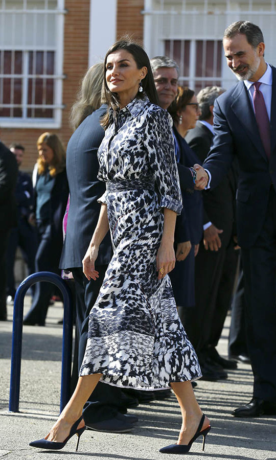 Stepping out in style! <a href=/tags/0/queen-letizia><strong>Queen Letizia</strong></a> presented a unique take on animal print in a navy and white <a href=/tags/0/victoria-beckham><strong>Victoria Beckham</strong></a> dress during a visit to a school on Feb. 6 in Ecija, Spain. <p>Photo: &copy; Marcelo del Pozo/Getty Images