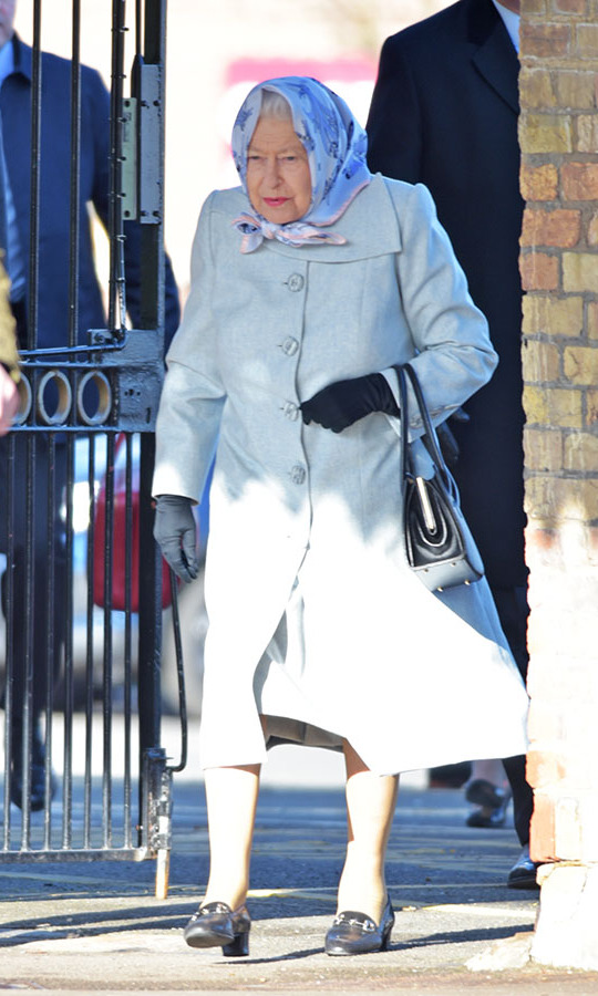 <a href=/tags/0/queen-elizabeth-ii><strong>Queen Elizabeth II</strong></a> looked lovely in a dusty pastel coat and patterned head scarf as she arrived at King's Lynn railway station in Norfolk on Feb. 11. She was returning to London via train after spending the Christmas period at <a href=/tags/0/sandringham><strong>Sandringham</strong></a>. <p>Photo: &copy; Nick Ansell/PA Images via Getty Images