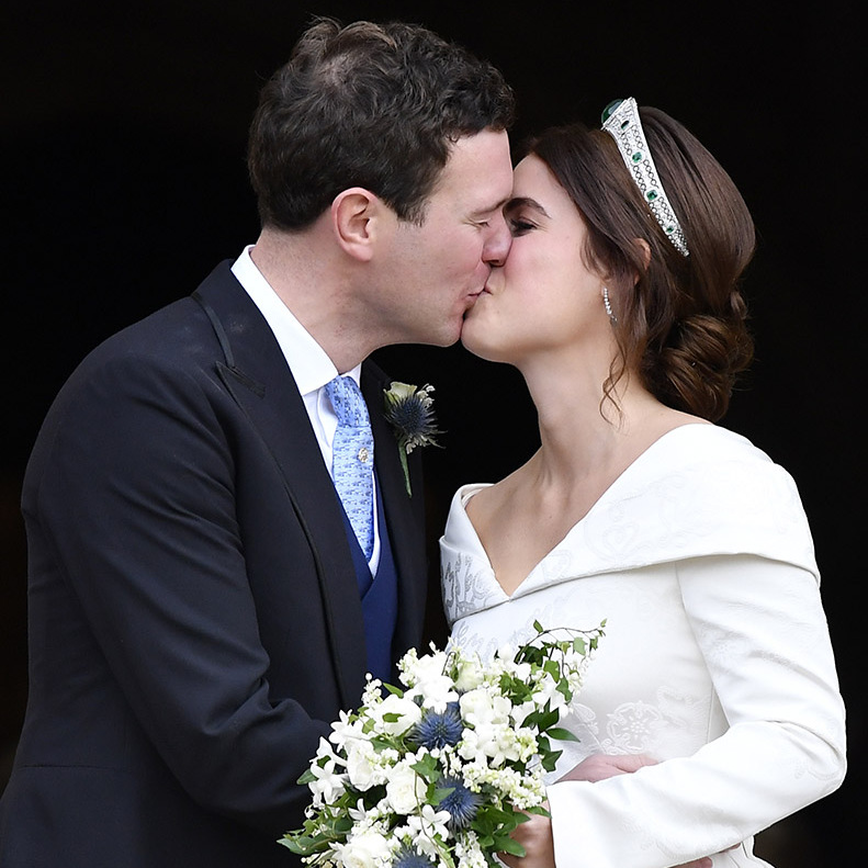 Sealed with a kiss! <a href=/tags/0/princess-eugenie><strong>Princess Eugenie</strong></a> and <a href=/tags/0/jack-brooksbank><strong>Jack Brooksbank </strong></a> shared a loving kiss as they left their wedding at St. George's Chapel in Windsor on Oct. 12, 2018. 
