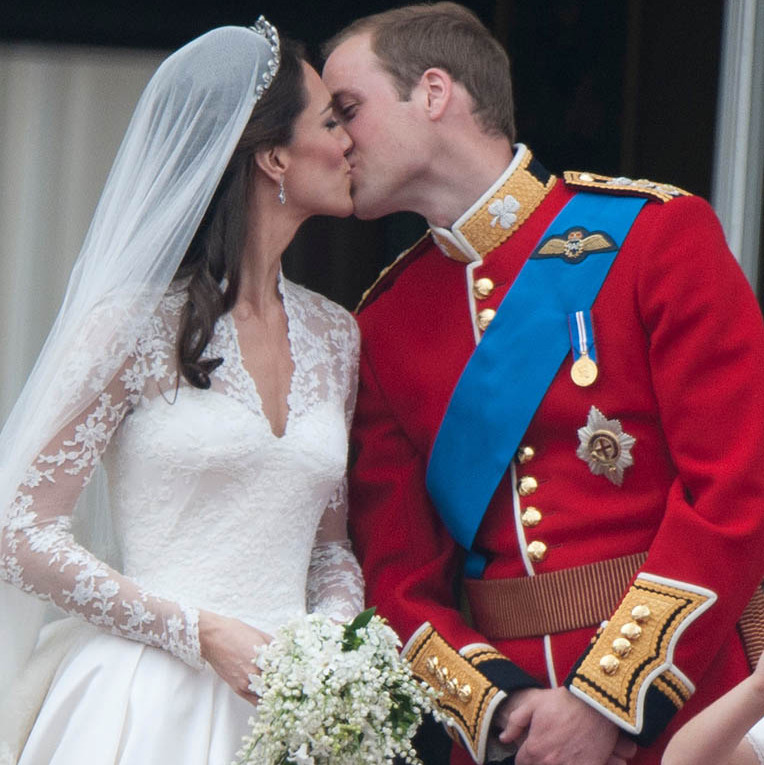 The world watched as <a href=/tags/0/kate-middleton><strong>Duchess Kate</strong></a> and <a href=/tags/0/prince-william><strong>Prince William</strong></a> shared a sweet kiss on the balcony of Buckingham Palace, following their wedding at Westminster Abbey on April 29, 2011 in London.
