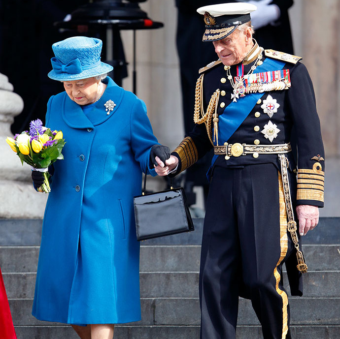 <a href=/tags/0/queen-elizabeth-ii><strong>The Queen</strong></a> and <a href=/tags/0/prince-philip><strong>Prince Philip</strong></a> held hands as they left a Service of Commemoration to mark the end of combat operations in Afghanistan at St. Paul's Cathedral on March 13, 2015 in London.
