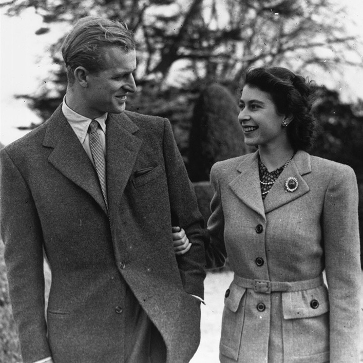 <a href=/tags/0/prince-philip><strong>Prince Philip</strong></a> and then-<a href=/tags/0/queen-elizabeth-ii><strong>Princess Elizabeth</strong></a> linked arms to enjoy a romantic walk during their honeymoon at Broadlands, Romsey, Hampshire on Nov. 24, 1947.