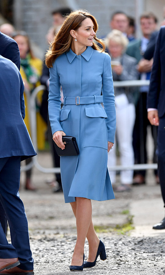 Beauty in blue! Duchess Kate stepped out in an elegant <a href=/tags/0/alexander-mcqueen><strong>Alexander McQueen</strong></a> coat and black accessories in Birkenhead on Sept. 26, 2019. <p>Photo: &copy; Anthony Devlin/Getty Images