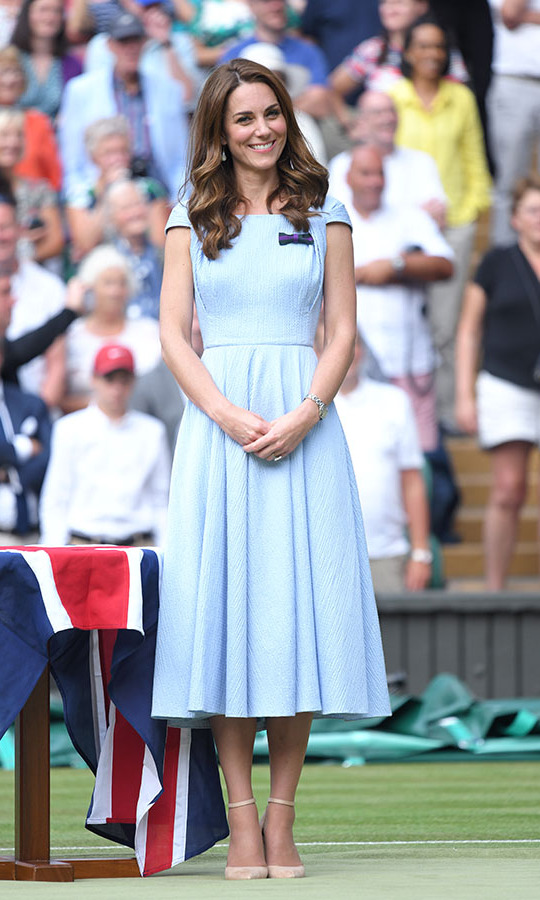 During the Men's Finals Day of the Wimbledon Tennis Championships at All England Lawn Tennis and Croquet Club on July 14, 2019 in London, Kate looked prim in a baby blue <a href=/tags/0/emilia-wickstead><strong>Emilia Wickstead</strong></a> dress. <p>Photo: &copy; Karwai Tang/Getty Images