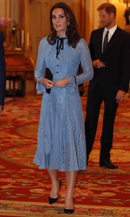 On 2017 World Mental Health Day (Oct. 10), the mom of three charmed in a pastel blue lace <a href=/tags/0/temperley-london><strong>Temperley London</strong></a> dress trimmed in a black bow. <p>Photo: &copy; Heathcliff O'Malley - WPA Pool/Getty Images