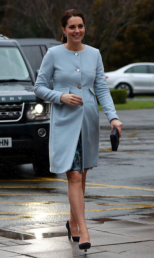 An expectant Kate, who was pregnant with <a href=/tags/0/prince-louis><strong>Prince Louis</strong></a> at the time, was dressed in a soft blue <strong>Séraphine</strong> coat when she arrived at the Mother and Baby unit at the Bethlem Royal Hospital on Jan. 24, 2018 in London. <p>Photo: &copy; Hannah McKay - WPA Pool/Getty Images