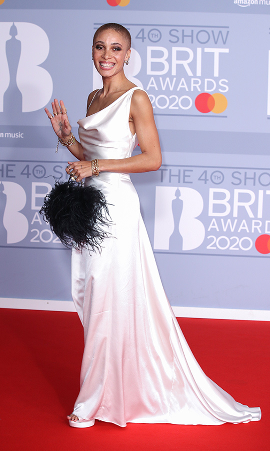 Model <a href=/tags/0/adwoa-aboah><strong>Adwoa Aboah</a></strong> looked gorgeous in a white satin dress.