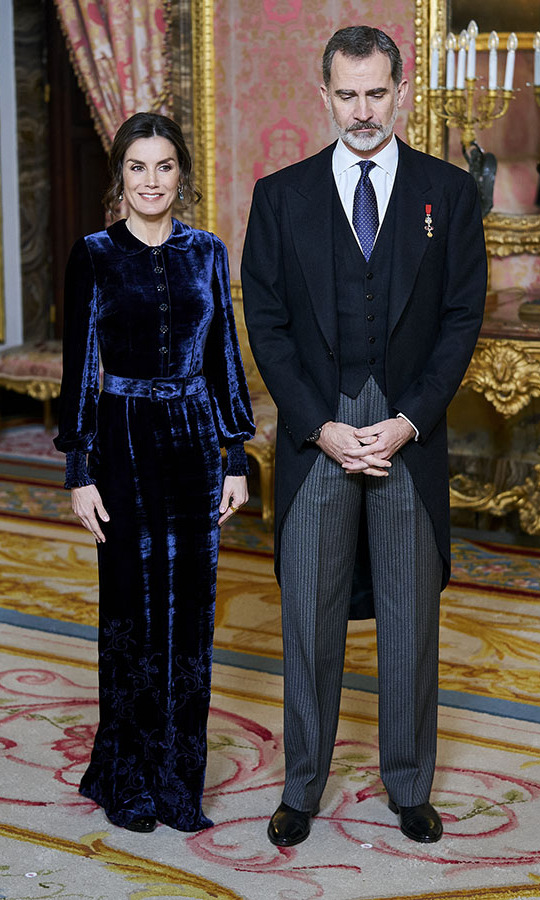 <a href=/tags/0/queen-letizia><strong>Queen Letizia</a></strong> looked sensational in a deep blue velvet gown while <a href=/tags/0/king-felipe><strong>King Felipe VI</strong></a> cut a dapper figure at the Diplomatic Corps reception at the Royal Palace in Madrid on Feb. 5. <p>Photo: &copy; Legan P. Mace / Echoes Wire/Barcroft Media via Getty Images