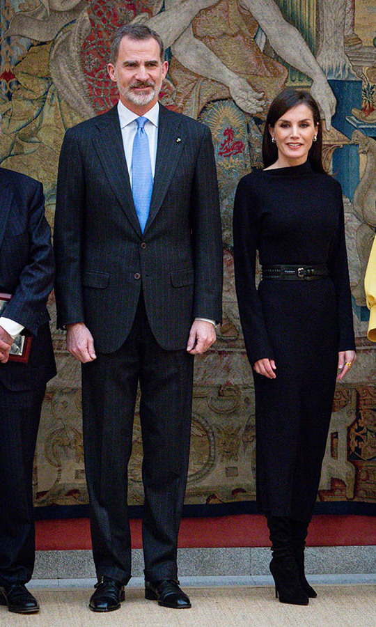 <a href=/tags/0/queen-letizia><strong>Queen Letizia</strong></a> turned heads in an all-black look with asymmetrical neckline and belt while attending the 'Premios Nacionales De Investigacion' Awards 2019 at the El Pardo Palace on Feb. 17 in Madrid with <a href=/tags/0/king-felipe><strong>King Felipe VI</strong></a>. <p>Photo: &copy; Paolo Blocco/WireImage