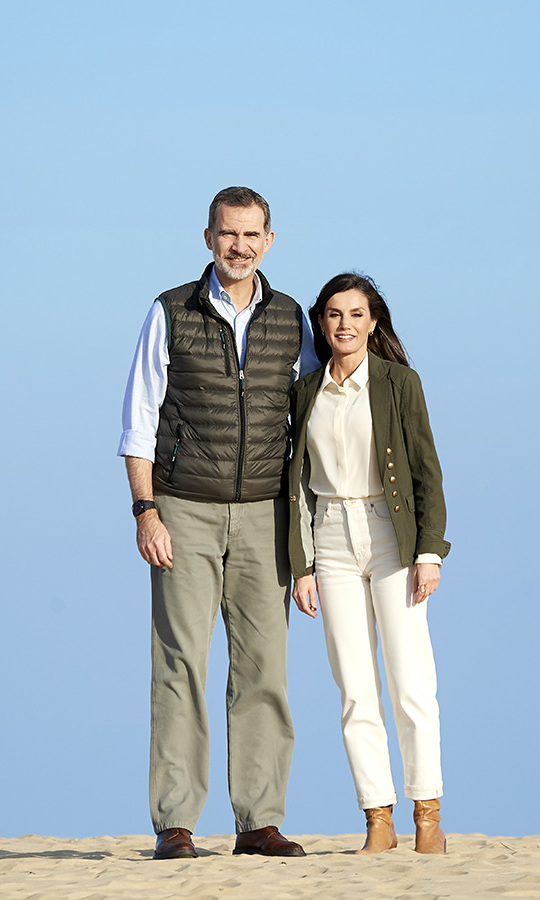<a href=/tags/0/king-felipe><strong>King Felipe VI</strong></a> and <a href=/tags/0/queen-letizia><strong>Queen Letizia</strong></a> coordinated in their refined outdoor clothes for the 50th anniversary commemoration of the Doñana National Park on Feb. 14 in Almonte, Spain. <p>Photo: &copy; Carlos Alvarez/Getty Images