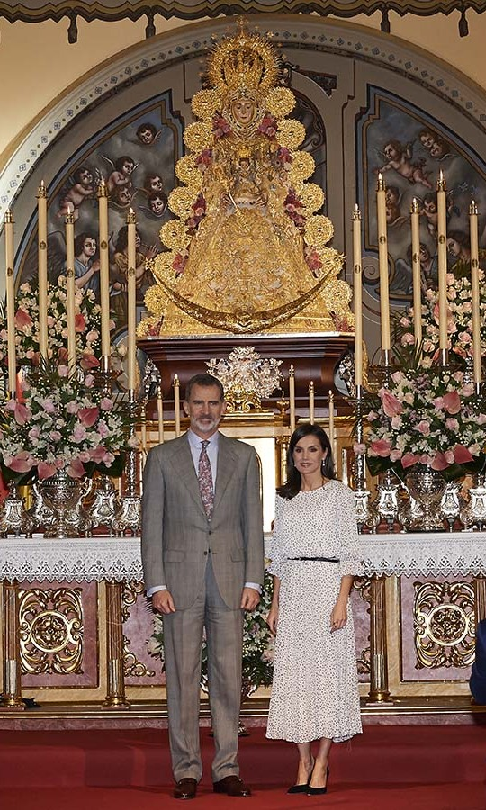 Another change! The Spanish royals switched out of their outdoor gear and into more formal ensembles to visit the Parish of Nuestra Señora de la Asuncion during the 50th anniversary commemoration of the Doñana National Park at the Salvador Távora Theater. <p>Photo: &copy; Carlos R. Alvarez/WireImage