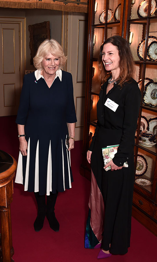 <a href=/tags/0/camilla-parker-bowles><strong>Camilla, Duchess of Cornwall</strong></a> looked regal in a graphic black and white dress when she hosted a reception to acknowledge the 15th anniversary of domestic abuse charity SafeLives at Clarence House on Feb. 12. <p>Photo: &copy; Eamonn M. McCormack/Getty Images